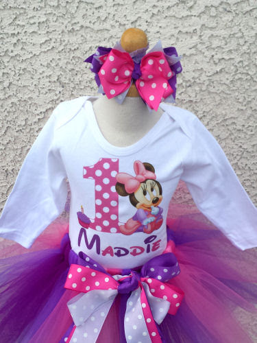 Baby Girls Minnie Mouse Purple Glitter Birthday Outfit Party Dress Set