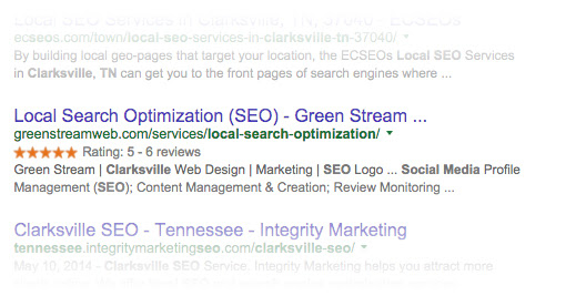 Get 5 Stars on your Google Search Results - Green Stream | Web Design Clarksville | Marketing | SEO