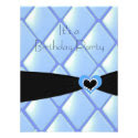 Blue Quilted Diamonds Birthday Invitation