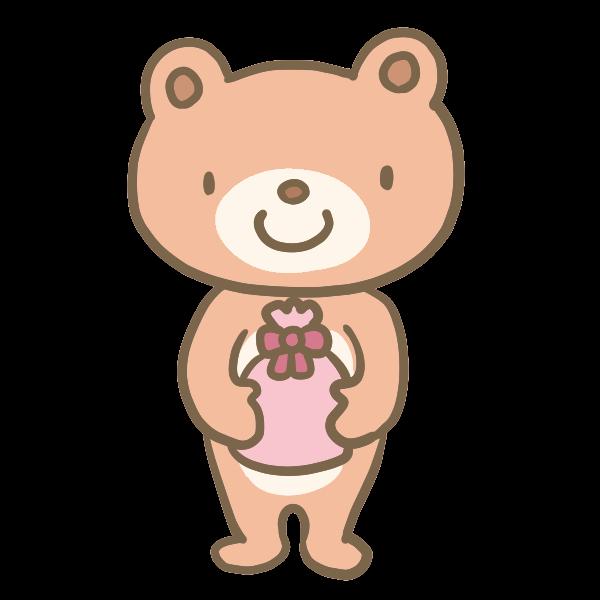 プレゼントを渡すクマくんのイラスト かわいいフリー素材が無料のイラストレイン