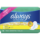 Always Ultra Thin Pads with Wings Unscented, Regular - 46 ea