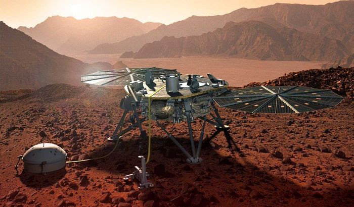 An artist's concept of NASA's InSight lander on the surface of Mars.