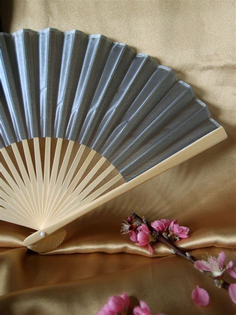 "9"" Silver Chinese Folding Silk Hand Fan for Weddings on"