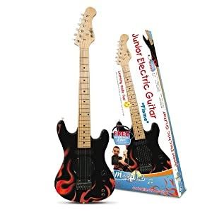 music alley junior electric guitar outfit includes dvd and headphones flame best acoustic. Black Bedroom Furniture Sets. Home Design Ideas
