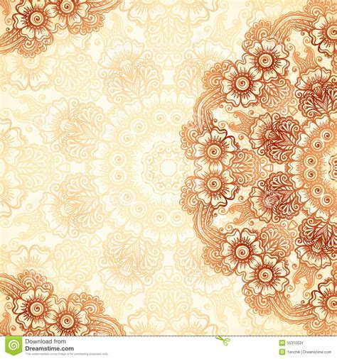 Hand drawn Vintage Background In Mehndi Style Stock Vector