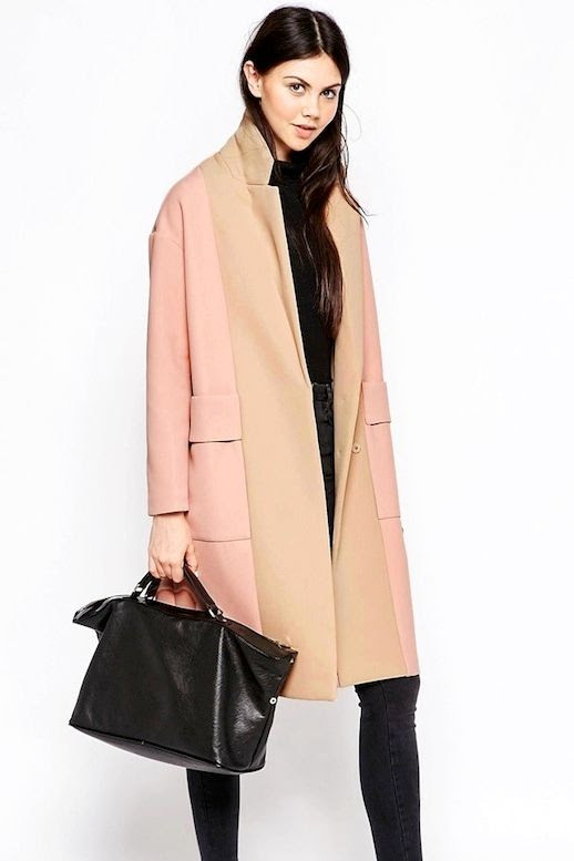 Le Fashion Blog Pink And Beige Color Block Coat With Paneled Front Roll Neck Turtleneck Sweater Black Faded Skinny Jeans Via Asos