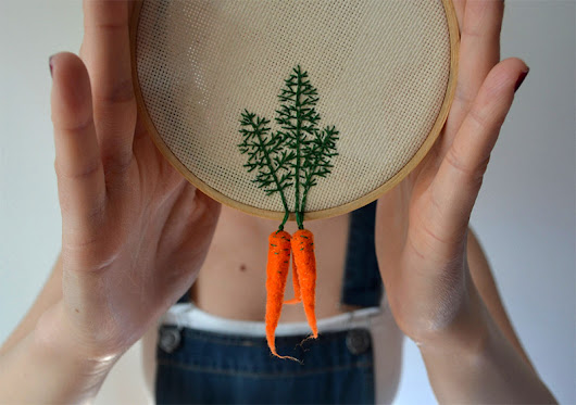 Felted Veggies Dangle from Embroidered Leaves | Colossal