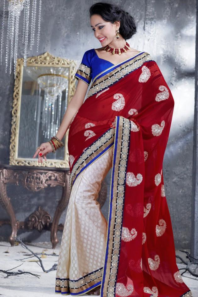 Indian-Brides-Bridal-Wedding-Party-Wear-Embroidered-Saree-Design-New-Fashion-Reception-Sari-2
