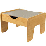KidKraft 2-in-1 Activity Play Table with Plastic Building Block Board, Natural by VM Express
