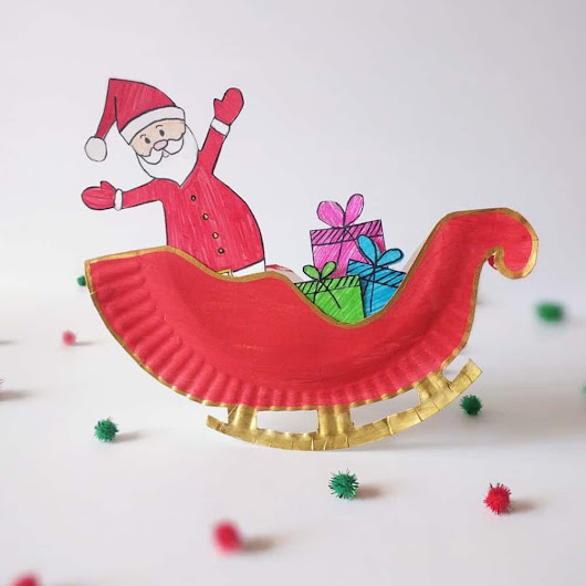 ROCKING SANTA CLAUS SLEIGH PAPER PLATE CRAFT - Hello Wonderful