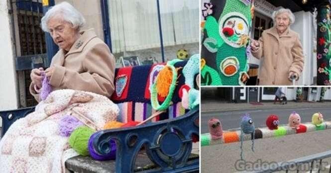 Uma avó de 104 anos decorou sua cidade com lã e muita criatividade