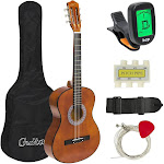 Best Choice Products 38in Beginner Acoustic Guitar Starter Kit w/ Case, Strap, Tuner, Pick, Strings - Brown