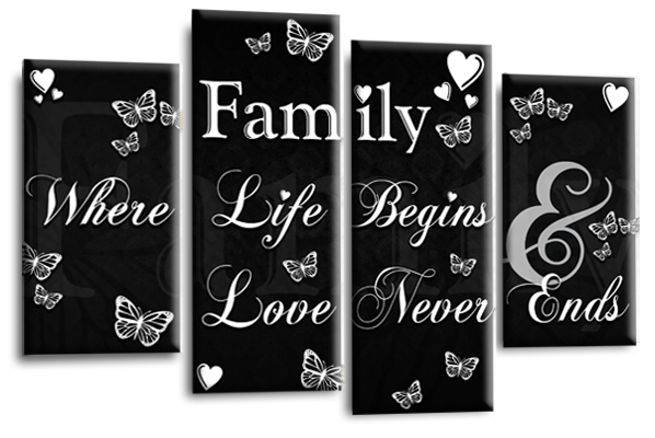 Multi Panel Canvas Wall Art Picture Prints Family Quotes Collection