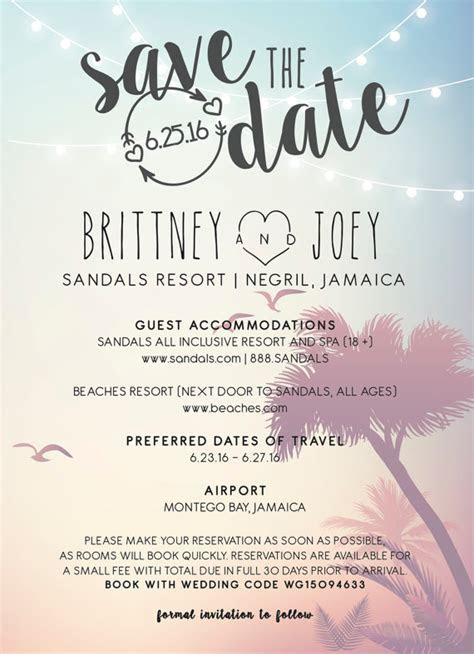 Save the date Jamaican wedding invitation ideas   Weddings