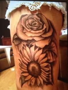 Grey Rose And Sunflower Tattoo
