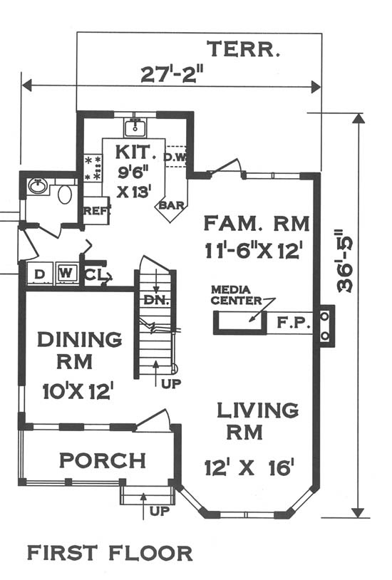 Narrow Lot Victorian House Plan 5671 - 3 Bedrooms and 2.5 Baths