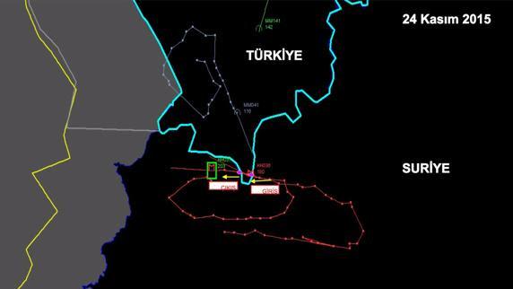 Un radar muestra la actividad del avión ruso derribado