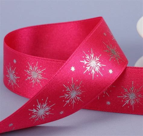 1 Metre Length Of Cerise Satin Ribbon With Silver
