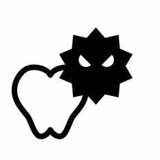 虫歯菌シルエット イラストの無料ダウンロードサイトシルエットac