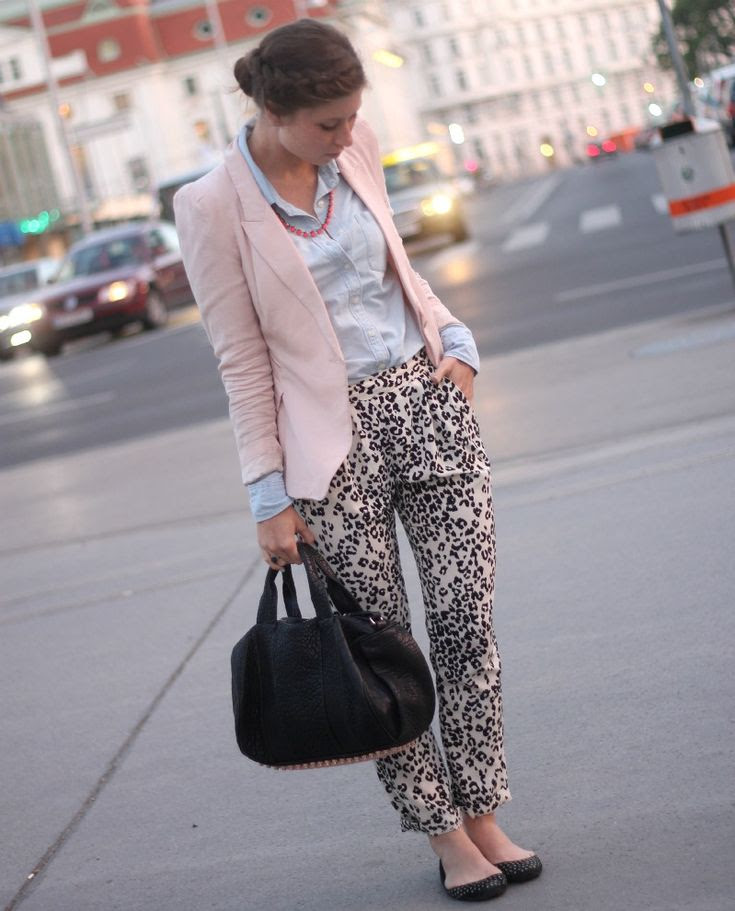 leopard pants, denim shirt, light pink blazer & a.wang rocco bag with rosé gold hardware