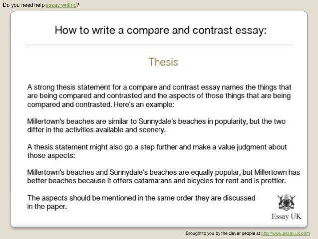 how to write a thesis statement for compare and contrast essays