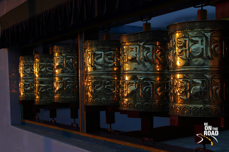 Prayer Wheels glitter during sunset