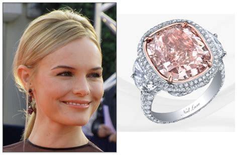 Kate Bosworth cushion cut pink diamond engagement ring