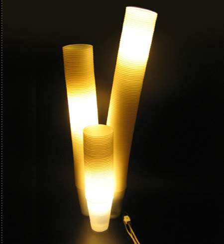 Plastic Cups Table and Floor Lamps