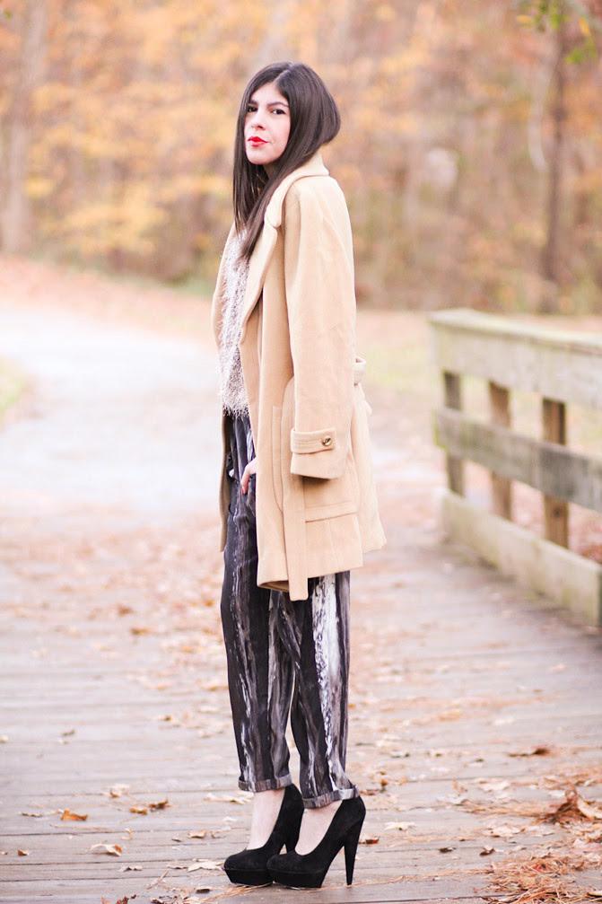 Camel Coat, Margot Tenenbaum, Asos Pumpkin pumps, Fashion Outfit