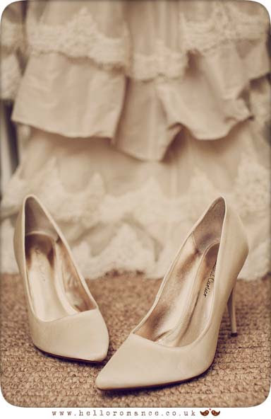 Bride's shoes and dress at Maison Talbooth Dedham Wedding Photography Essex - Sian and James - Hello Romance Wedding Photography Vintage wedding photography