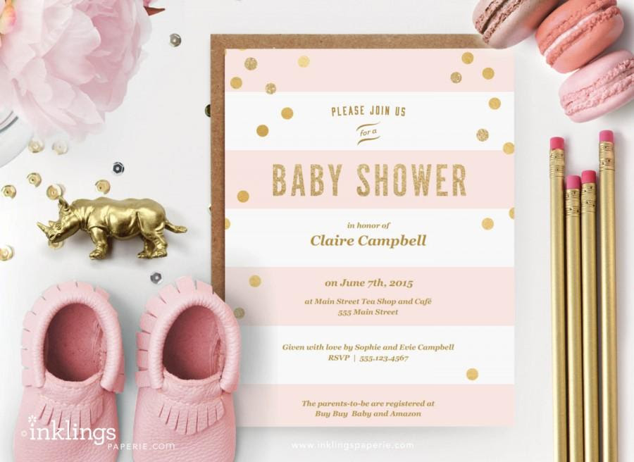 Printable Baby Shower Invitation // Pink Stripes With Gold Dots ...