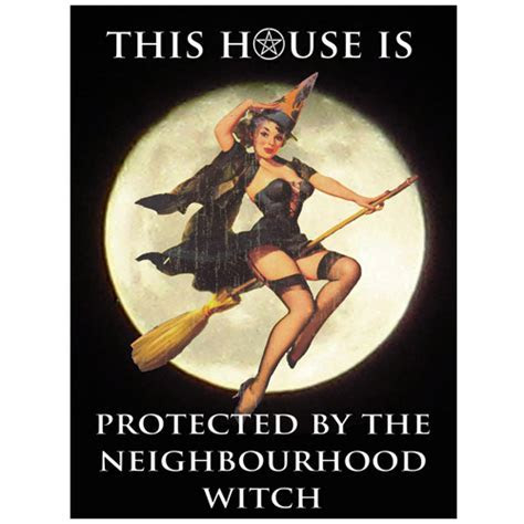 Funny Vintage Pinup Witch Metal Wall Sign