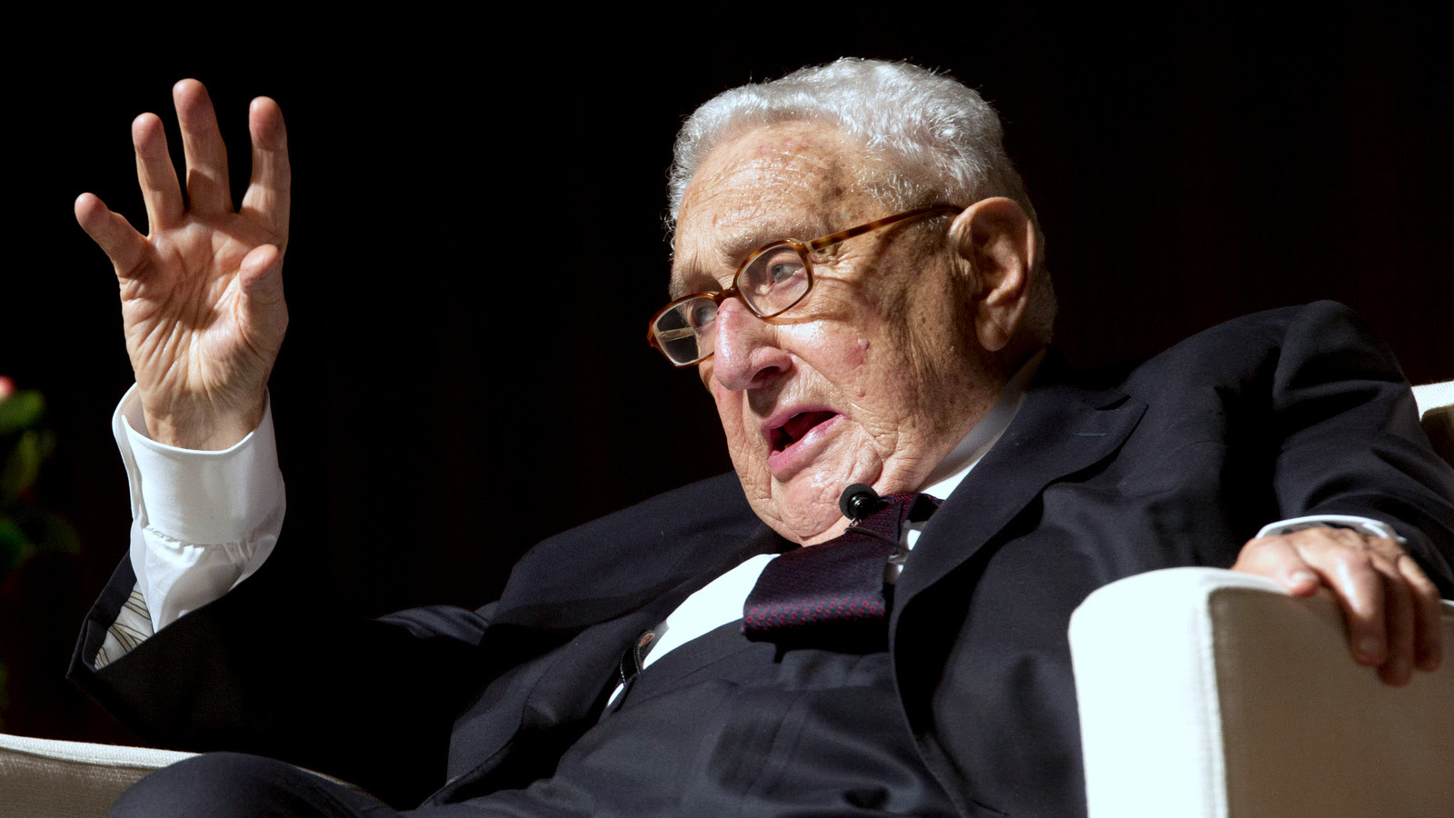 Former Secretary of State and former National Security Advisor Henry Kissinger speaks at the Vietnam War Summit at the LBJ Presidential Library in Austin, Texas, Tuesday, April 26, 2016. (AP Photo/Nick Ut)