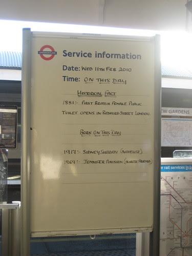 Kew Gardens Tube - Jennifer Aniston & female public toilet's birthday