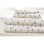 Merit Linens Floral Bed Sheet Set: Soft Floral-Light Blue/Queen Soft Floral - Blue Queen