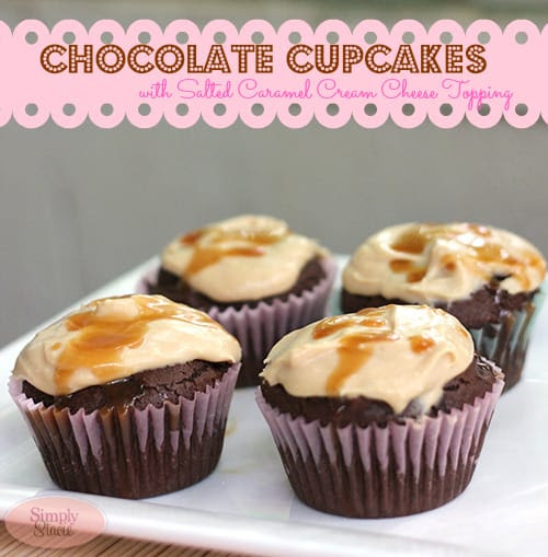 Chocolate Cupcakes with Salted Caramel Cream Cheese Frosting by Simply Stacie