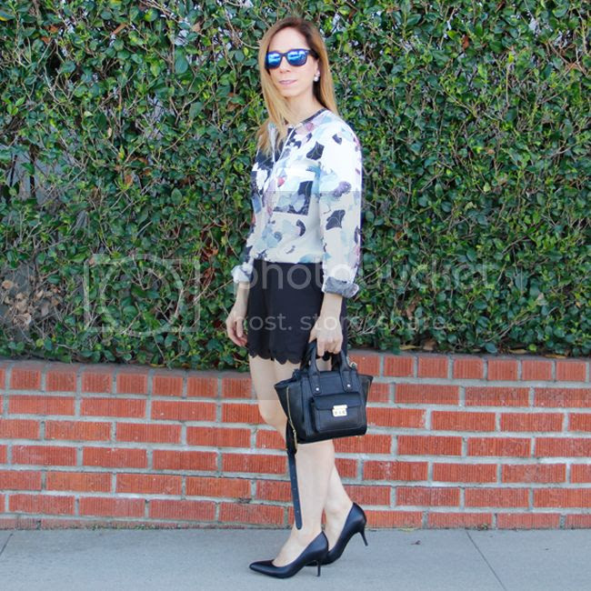 Fashion blogger The Key To Chic wears a 3.1 Phillip Lim patchwork floral blouse with LC Lauren Conrad scalloped edge shorts and Ukies 'Arianna' pumps.
