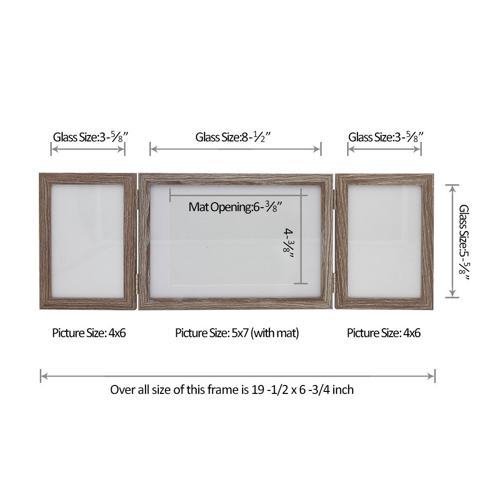 Sumgar Wooden Three Picture Frame For Desk 4x6 And 5x7 Triple Hinged