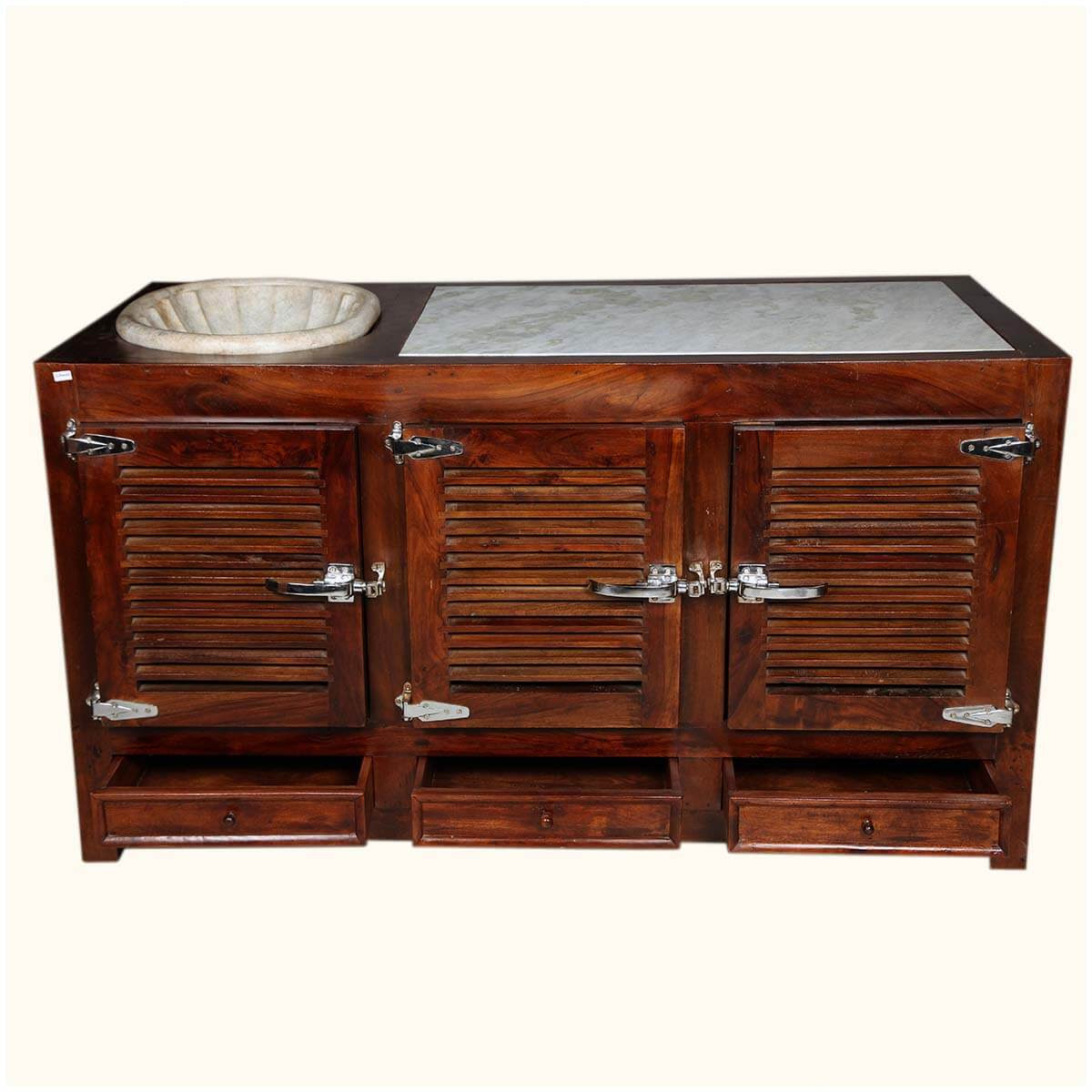 Shaker Solid Wood & Marble Kitchen Island Sink Cabinet