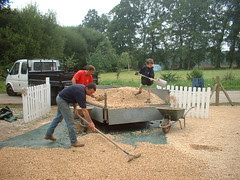 Everyone helping to lay the new drive