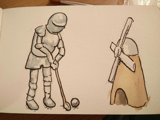 Daily sketch 293 - Don Quixote & 294 Android vs iphone