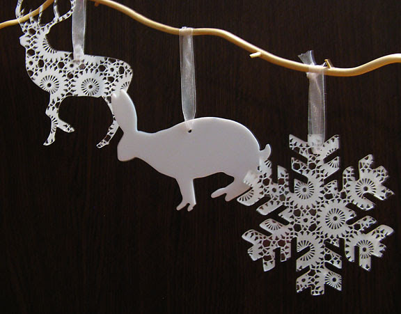 deer, snowflake and rabbit