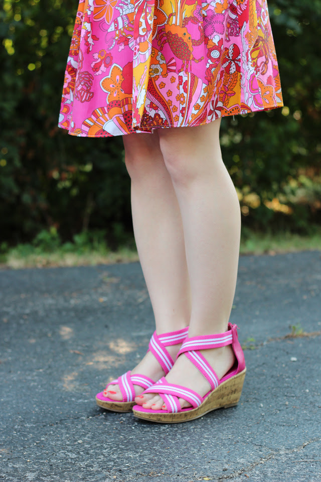Tropical Print Pleated Skirt and Pink Wedges