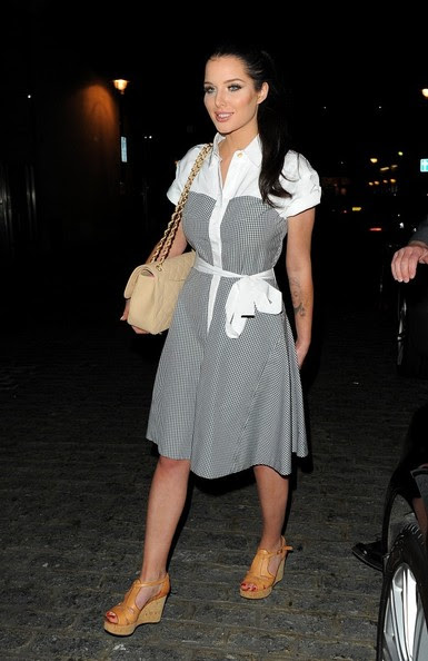 15th April 2014. Helen Flanagan seen leaving Zuma restaurant this evening. London, UK.