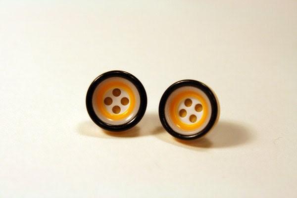 Lemon Twist ---hypoallergenic button earrings