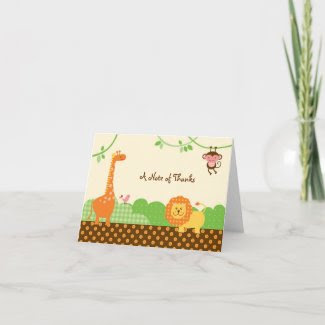 Jungle Safari Thank You / Note Card card