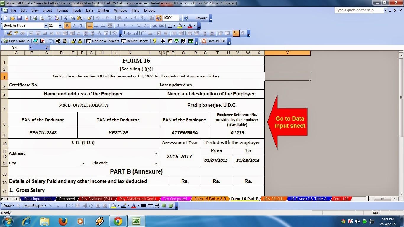 Latest Form 16a Excel Format - staffbangkok