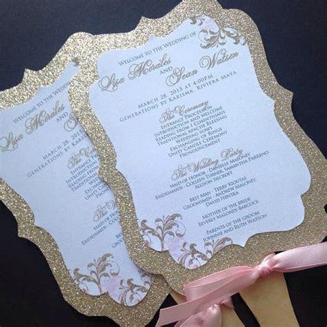 Wedding Fan Programs   Glitter Wedding Fan Programs   Gold