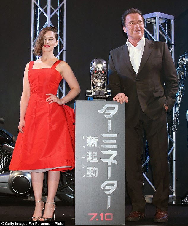 Box office bomb: The franchise sequel finished in a mediocre third place for the Friday-Sunday opening weekend with a measly return of $27.5 million. Emilia's seen here with co-star Arnold Schwarzenegger