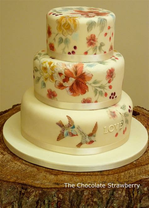Vintage Themed Hand Painted Wedding Cake With Birds
